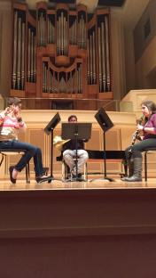 "Rehearsal of Marcus Redden's ""Dialogues"" for Flute, Clarinet, and Horn. November 2015"