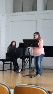 Dress rehearsal for the clarinet studio recital. Poulenc Sonata. Spring 2015
